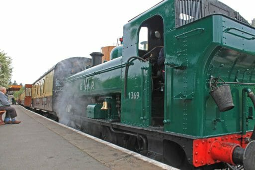 """1369 in """"what if?"""" GWR livery on the last day of it's boiler ticket on 9th May 2017"""