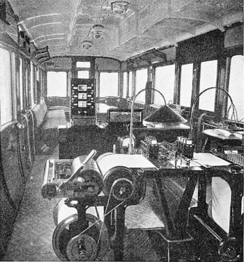 Recording instruments of various kinds were carried inside the dynamometer car. In the foreground of this picture is the machine for recording the drawbar pull of the locomotive, which is marked on the roll by one of the nine pens in the centre of the table. In the background is seen the apparatus for analysing the gases in the smoke-box of the engine.