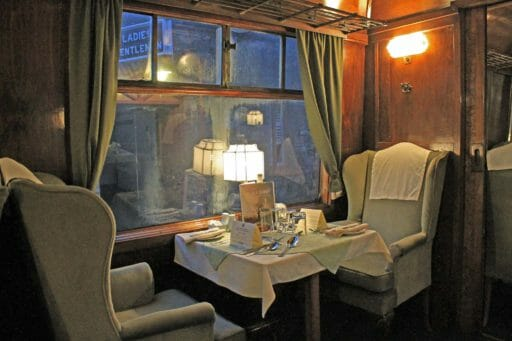 "The interior of 9111 ""King George"" ready for an Dining Train service in 2016."