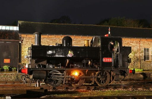 1369 in BR Black livery during a night photoshoot at Buckfastleigh in 2016 - Rob Sherwood