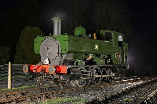 1369 in GWR Roundel Green livery during a night photoshoot at Buckfastleigh in March 2020 - Rob Sherwood