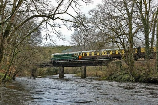 D6501 passes over Nursery Pool Bridge in 2018. Photo by Rob Sherwood.