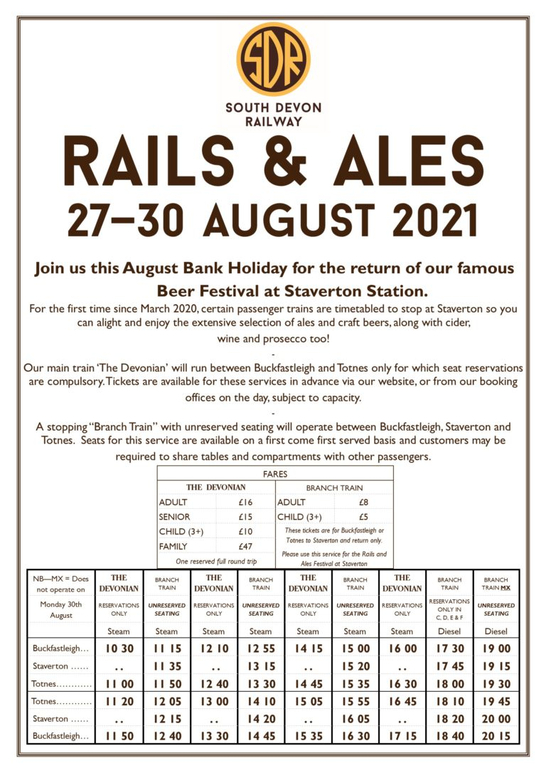 Rails and Ales Timetable